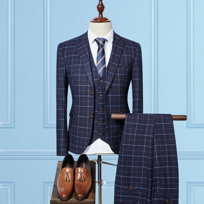 (jacket+vest+pants) High Quality Men Suits Fashion Grid Stripe Men's Slim Fit Business Wedding Suit Men Wedding Suit #2