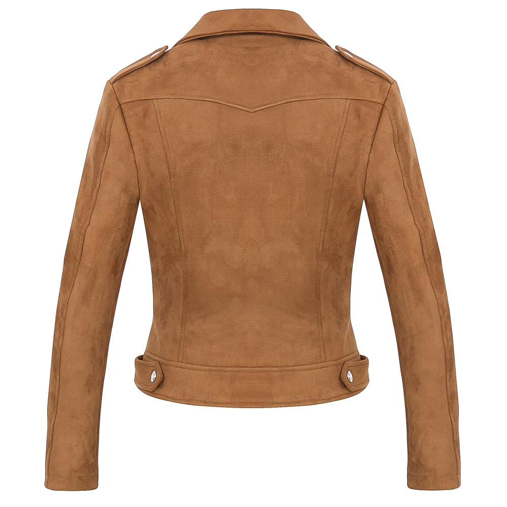 2018 New Hot Women Faux Soft Suede Leather Jackets Lady Brown ...