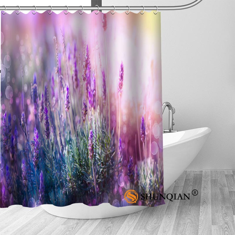 lavender Bath Curtain 100% polyester Fabric Shower Curtain bathroom beautiful Bath decor Print your picture