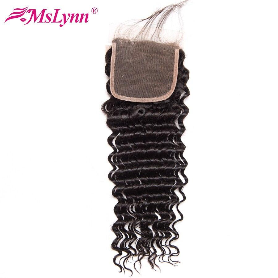 Mslynn Hair Brazilian Deep Wave Closure With Baby Hair 100 Human Hair Lace Closure 4 X4
