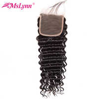 "Mslynn Hair Brazilian Deep Wave Closure With Baby Hair 100% Human Hair Lace Closure 4""X4"" Bleached Knots Remy Hair 10-22 Inch"