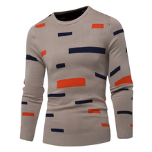 Sweater spring mens slim sweater casual horizontal knitted pullover fashion  round neck double