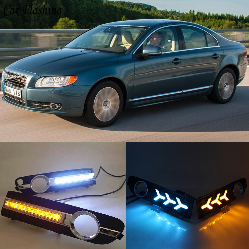 Car Flashing 2pcs For Volvo S80 2009 2013 LED DRL Daytime Running Lights Daylight yellow turn