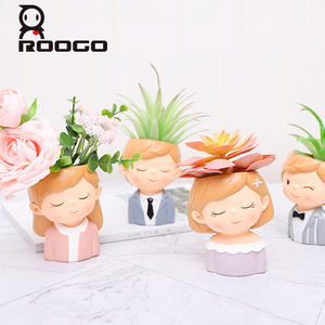 Image 2 - Roogo FlowerPot Modern Plant Pot Couple Lovers Pots For Flowers Succulent Cute Decorative Flower Pots For Wedding Decoration