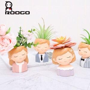Image 2 - Roogo 植木鉢現代植木鉢カップル愛好家植木鉢多肉植物かわいい装飾結婚式の装飾のため