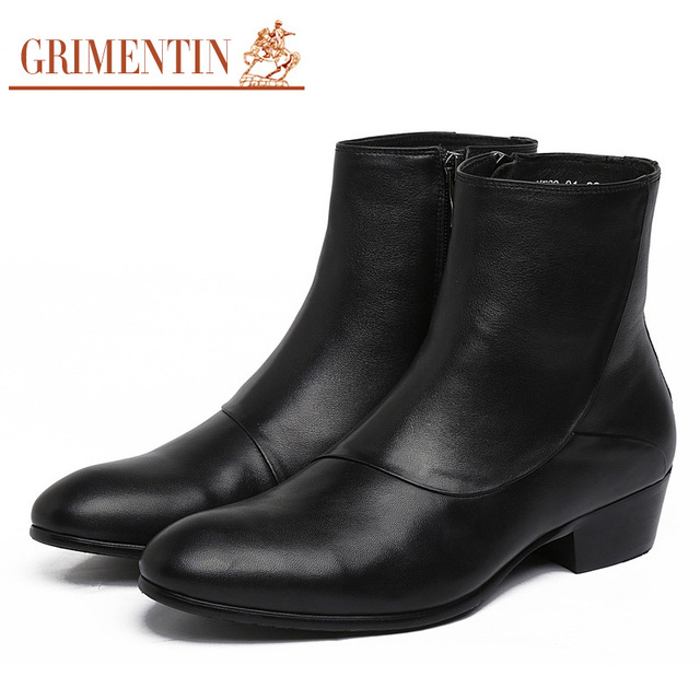 Grimentin Brand Fashion Zip Mens Motorcycle Boots Genuine Leather Round Toe Men Dress Shoes Italian Designer