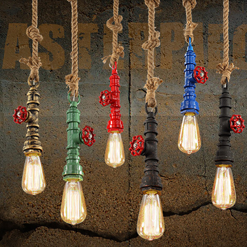 DIY loft retro industrial vintage Steampunk water Pipe colorful pendant lamp e27 hemp rope light for bar Restaurant dining room rust color water pipe steampunk vintage pendant lights for dining room bar home decoration american industrial loft pendant lamp