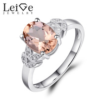Leige Jewelry Oval Cut Pink Gemstone Natural Morganite Ring Pink Sterling Silver 925 Wedding Promise Rings for Women