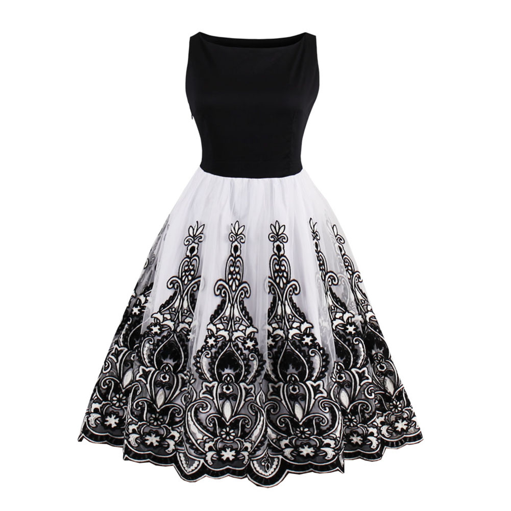 Women's Lady Dress Sleeveless Swing Medium Length Fashion Ciothing For Party Dress H9