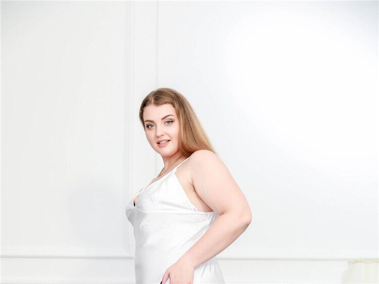 Νυχτικό γυναικείο σατέν με δαντέλα για μεγάλα μεγέθη msow
