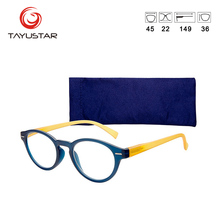 Reading Glasses Frame For Men Blue Stylish Clear Colorful Classicl Round Woman With Case