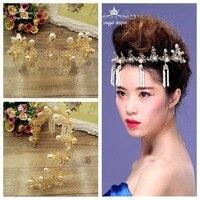 2016 new golden tassels Pearl Wedding dress wedding wedding bride headdress ornaments accessories crown frontlet