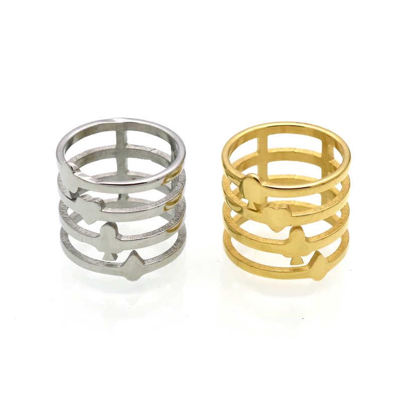 BORASI ยี่ห้อใหม่ล่าสุดทองสีโป๊กเกอร์แหวนโชคดีแหวนไทเทเนียมสตีล Hollow Out โป๊กเกอร์ออกแบบ Punk เครื่องประดับ