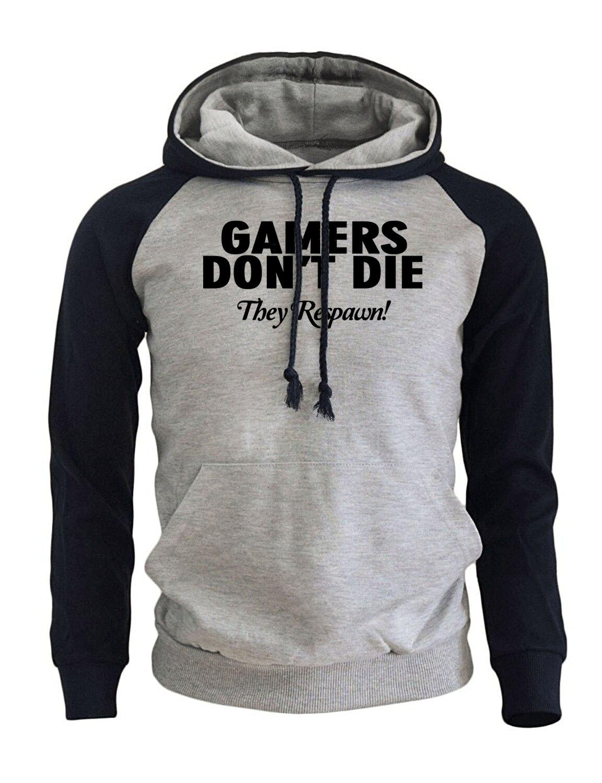 2019 Autumn Winter Hoodies For Men GAMERS DON'T DIE Print Fleece Raglan Sweatshirt Male Harajuku Casual Men's Sportswear Kpop