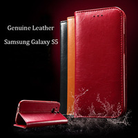 Top Grade Original Genuine Leather Phone Cover Case For Samsung Galaxy S5 I9600 Brand New High