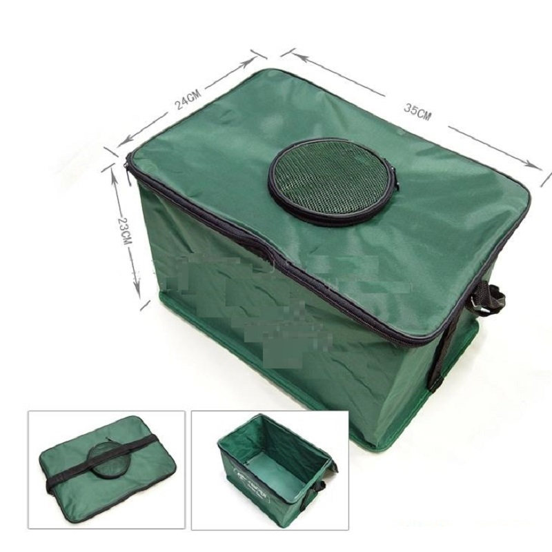 Outdoor EVA Canvas Fishing Bucket Live Fish Box Folding Water Bottle Loaded Water Tank Wire Support Fishing Bag Storage Bags