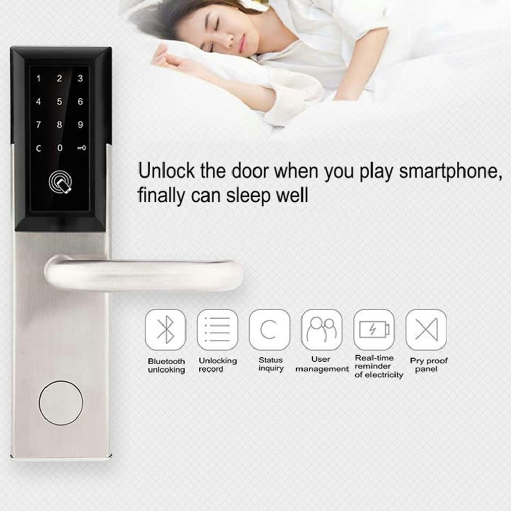 Bluetooth Security Entry Door Lock Electronic Combination Password Door Lock Digital Smart Code Locker with Card