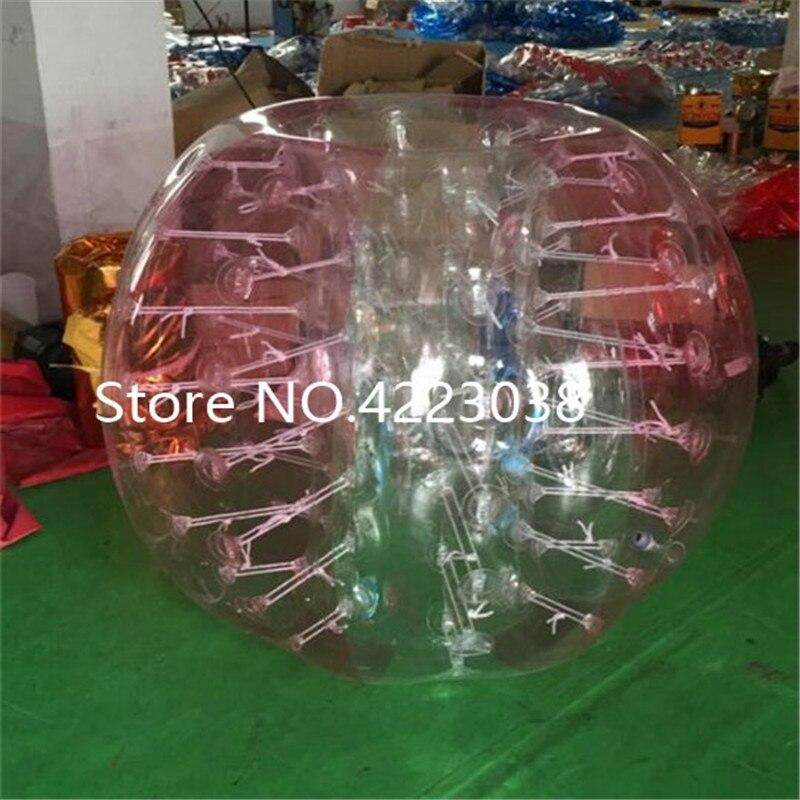 1,5 м надувной футбольный мяч в виде пузыря бампер шар-Зорб пузырь футбол человеческий батут Bubbleball Zorb мяч - Цвет: half pink and clear