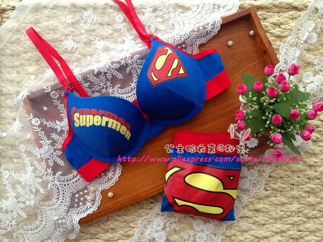 90fae9bf26fa7 Summer new 2014 lingerie panties sets Superman bra with cotton push up bras  lovely lady s blue underwear sets for women