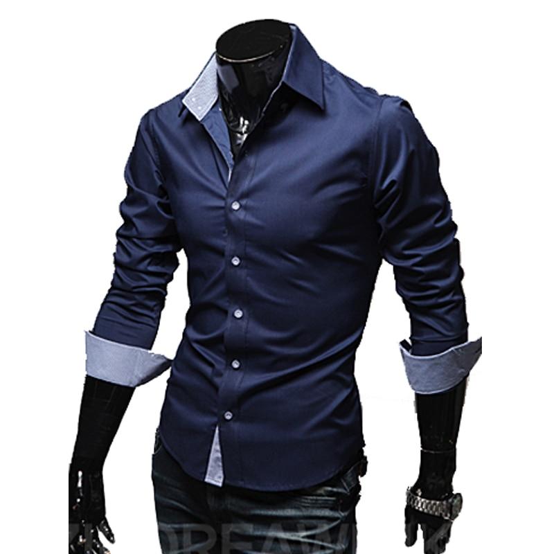 Férfi alkalmi ingek 2018 Hot Sale Férfi Slim Fit ruha hosszú ujjú ingek Soild Férfi szociális ingek Designer Chemise Homme 3XL 25