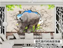 3D wallpaper 2015 New non-woven 3 d rhino to break a wall and into the TV setting wall decoration wallpaper(China)