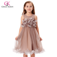 Grace Karin Khaki Tulle Flower Girl Dresses Princess Lace Communion Dresses Evening Gowns Kids Pageant Formal