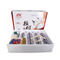 32 Pcs Massage Cans Cups Chinese Vacuum Cupping Kit Pull Out A Vacuum Apparatus Therapy Relax