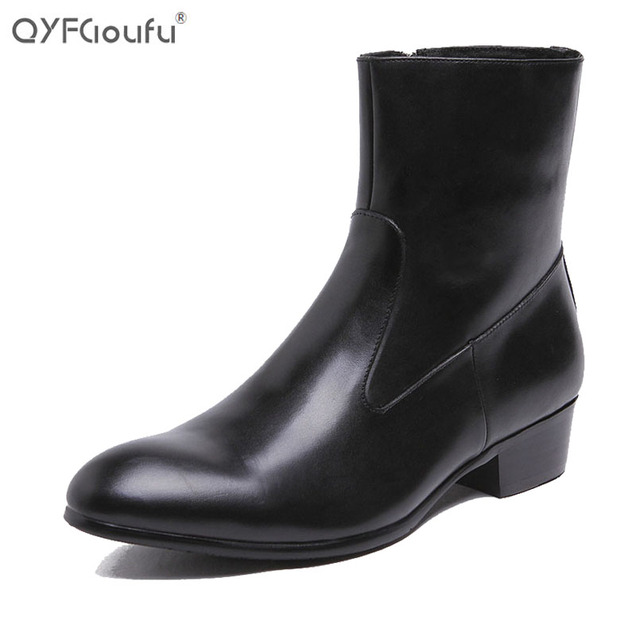89400c62b7d Cuban heel fashion boots for men 100% genuine leather mens Wingtip ankle  boots 39-45 zip dress boots shoes Black brown