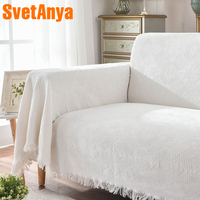 Svetanya White Sofa Towel Cotton Linen Fabric Jacquard Single Double Three seat Sofa Cover