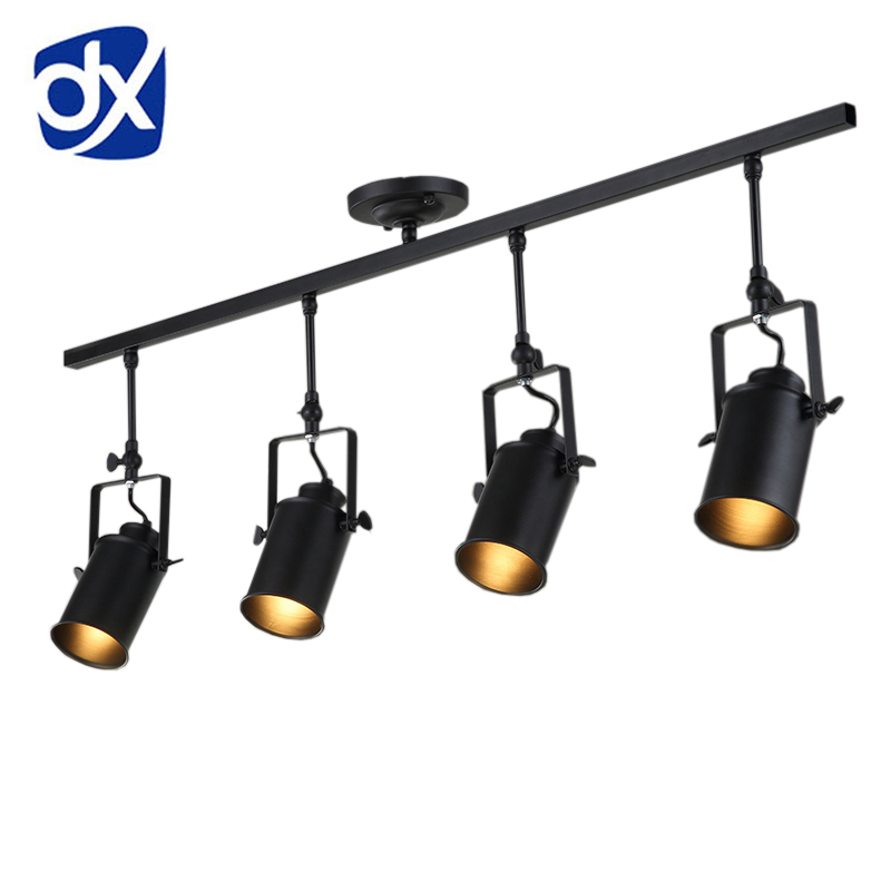 DX vintage Loft Ceiling Light 1/2/3/4 heads creative loft track lamp cloth shop coffee bar light clothing TV bar backdrop lamp цена