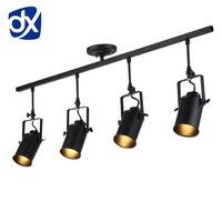 DX vintage Loft Ceiling Light 1/2/3/4 heads creative loft track lamp cloth shop coffee bar light clothing TV bar backdrop lamp