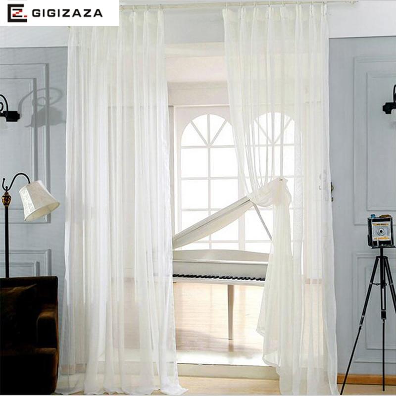 Lynn Weiß Voile Tüll Fenster Prinzessin Vorhänge Gardinen Für Wohnzimmer  Drapieren Transparent Prozess Weiß Beige Custom Größe