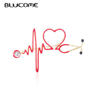 Blucome Brooches Badge Stethoscope Medical Jewelry Doctor Crystal Heartbeat-Shape Women