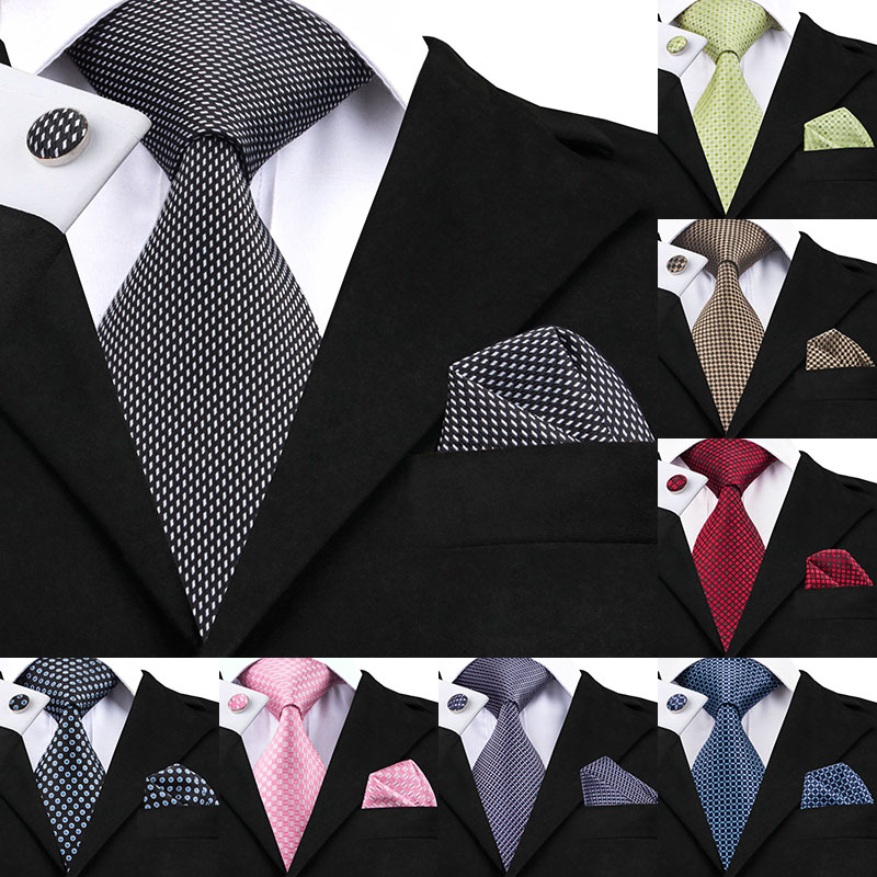 Hi-Tie Mens Ties Gray Red Green Dots Tie Set Lattice Silk Necktie Pocket Square Cufflink Set New Fashion Mens Business Tie C-466