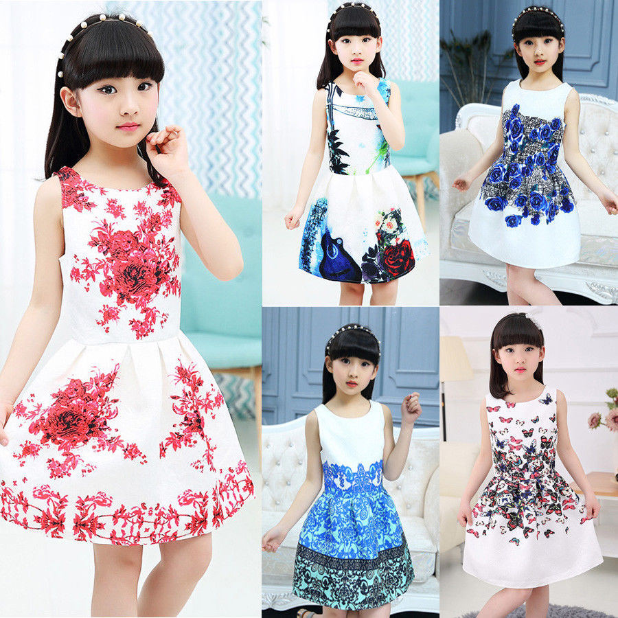 Summer Little Girls Multi-style Fairy Stylish Sleeveless Dress Kids Girl Princess Floral Dresses Flower Sundress Clothes 5-12T ems dhl free shipping toddler little girl s 2017 princess ruffles layers sleeveless lace dress summer style suspender