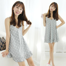 2016 New style high quality comfortable sleep condole belt girl summer thin cotton v-neck sexy cute sleepshirts summer nightgown
