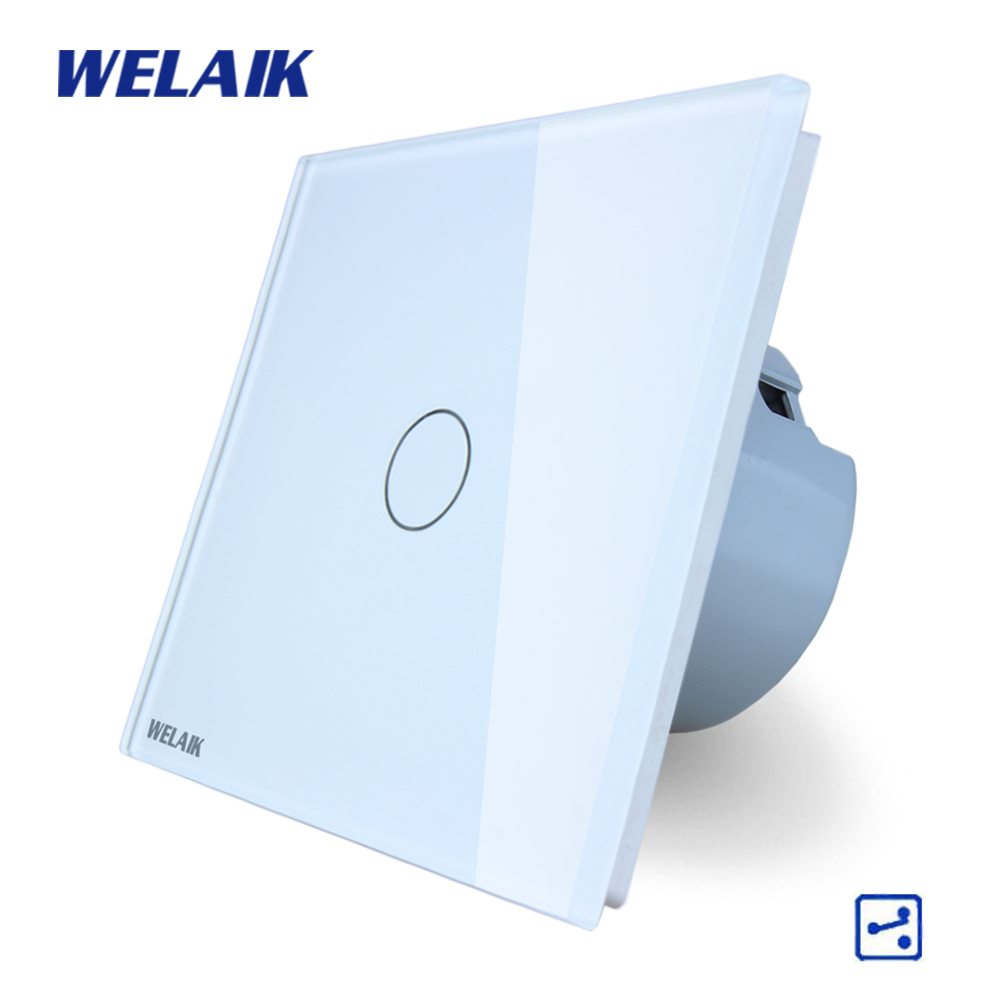 WELAIK Crystal Glass Panel Switch White Wall Switch EU Touch Switch Screen Wall Light Switch 1gang2way AC110~250V A1912CW/B smart home us au wall touch switch white crystal glass panel 1 gang 1 way power light wall touch switch used for led waterproof