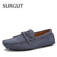 SURGUT Marka Yeni Moda Yaz Bahar Erkekler Sürüş Ayakkabı Loafers Gerçek Deri Ayakkabı Tekne Nefes Erkek Rahat Flats Loafers