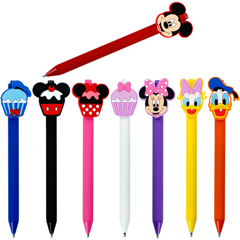 40pcs lot creative cartoon quality mouse duck Daisy cake frosted color barrel black ink gel pen