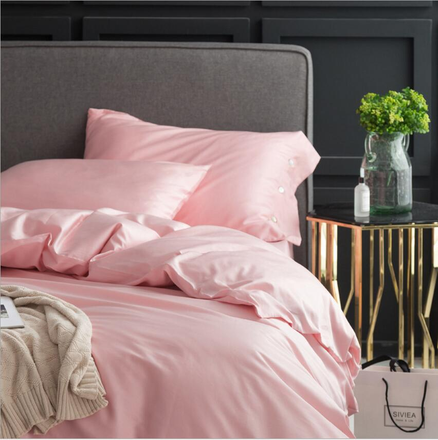 Luxury Egyptian cotton Pink Bedding sets King Queen size 4Pcs Solid Color Princess Duvet cover Bedclothes Bedsheet Pillowcases