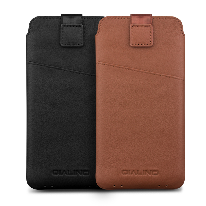 Image 5 - QIALINO Leather Bag Case for iPhone XS Luxury Genuine Leather Bag  Phone Cover for iphone X Wallet Pouch Card Slot for 5.8 inchescase  forbag casecase case