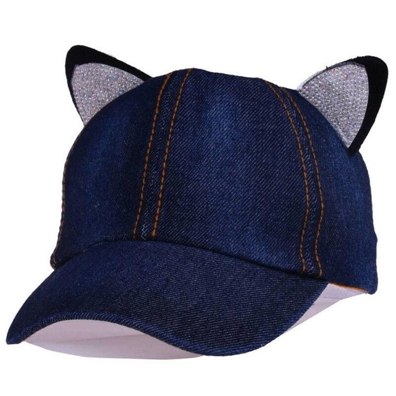Новый мультфильм милый кот уши со стразами детская бейсболка мальчик и девочка шляпа деним Rest козырек