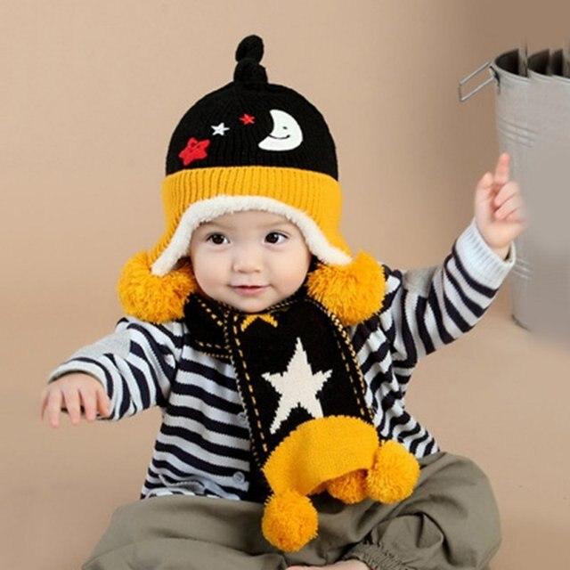 Baby Mädchen Jungen Kleinkind Kinder Winter Schal Hut gesetzt Stern ...