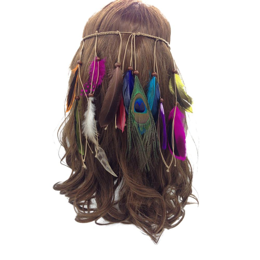 Girls Elastic Band Stain Headband With Feather Beach Festival Party Wedding