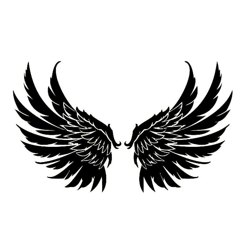 20X12.2CM Angel Wings Guardian Kids Fashion Car Sticker Vinyl Decorative Decal Accessories Black Silver S6-2601
