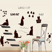 Newest Wall Sticker Funny Cats Stickers Decal Removable Set of 6 Black Cute Art Vinyl Home Decor