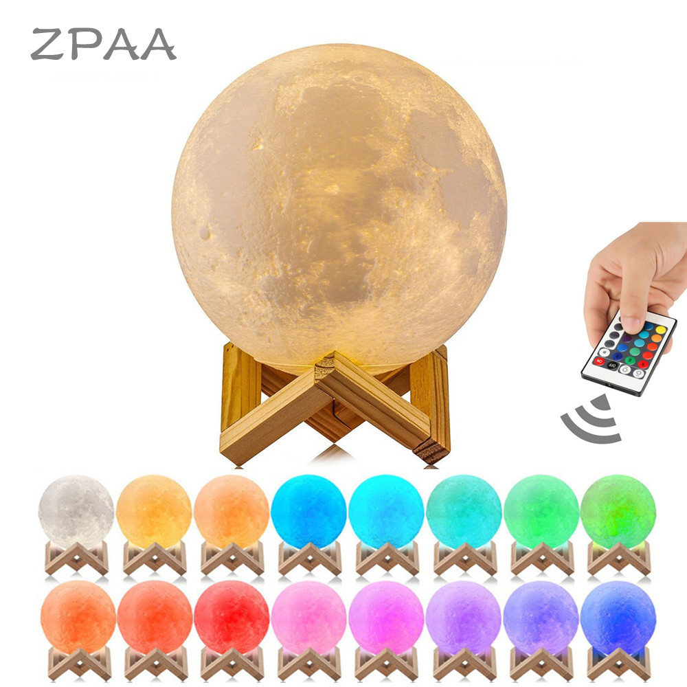Luna Moon Lamp Night Light 3D Printed Moonlight Lamp LED Dimmable Touch Bedside Table Desk Lamp Rechargeable Battery Operated