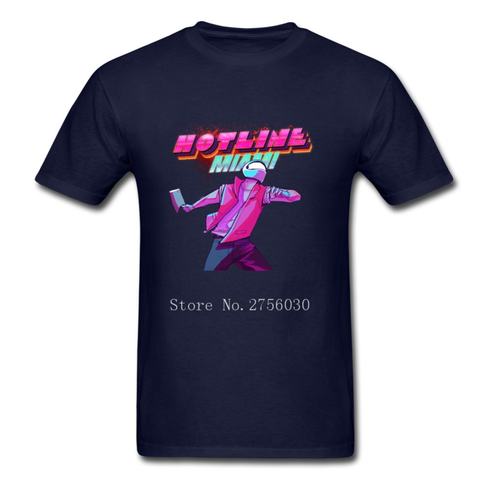 Funny T Shirts Mens T Shirts O-Neck Hotline Miami top-down shooter video game Short Sleeved Clothing Custom Men's 3XL T Shirts