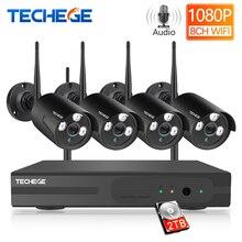 Techege 8CH 무선 CCTV 시스템 1080P 2MP NVR 방수 야외 CCTV 카메라 IP 카메라 보안 시스템 비디오 감시 키트