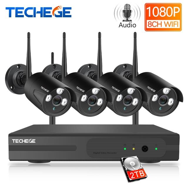Techege 8CH Wireless CCTV System 1080P 2MP NVR Waterproof outdoor CCTV Camera IP Camera Security System Video Surveillance Kit